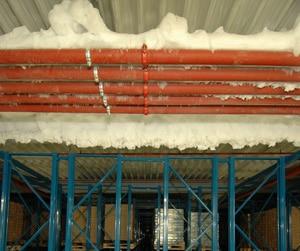 Sprinkleranlage mit Frostschutz im Tiefkühllager