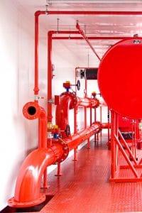 Ausstattung einer mobilen Sprinklerzentrale -  Sprinklerpumpe mit Diesel- oder Elektromotor