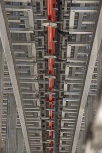 Spinkler in Hochregallager des Europäischen Distributionszentrum Mitte