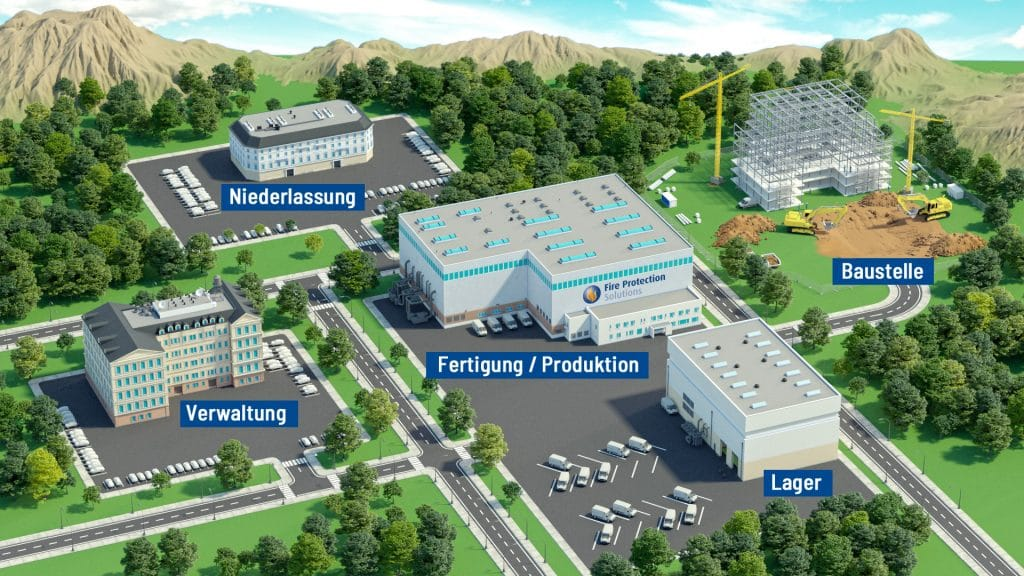 Übersicht der Einsatzorte und Tätigkeitsbereiche der Fire Protection Solutions Gruppe: Niederlassung, Verwaltung, Fertigung, Lager und Baustellen