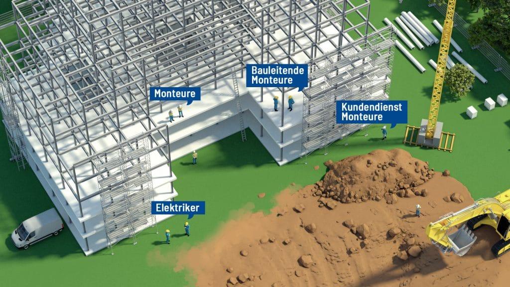 Einsatzorte und Tätigkeitsbereiche der Fire Protection Solutions Gruppe Ansicht der Jobs auf einer Baustelle: Monteure, Bauleitende Monteure, Kundendienst Monteure, Elektriker