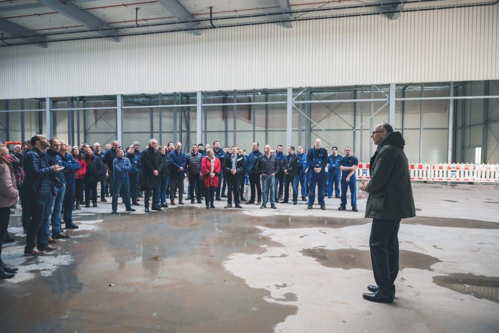 Richtfest Logistikzentrum Calanbau am 12.03.20: Begrüßung aller Teilnehmenden durch Geschäftsführer Herr Stefan Falk.