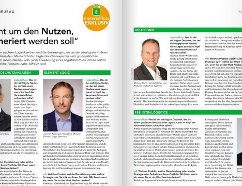 Brandschutztechnische Anforderungen an Logistik-Neubauten – Stefan Falk im Interview mit der Fachzeitschrift materialfluss